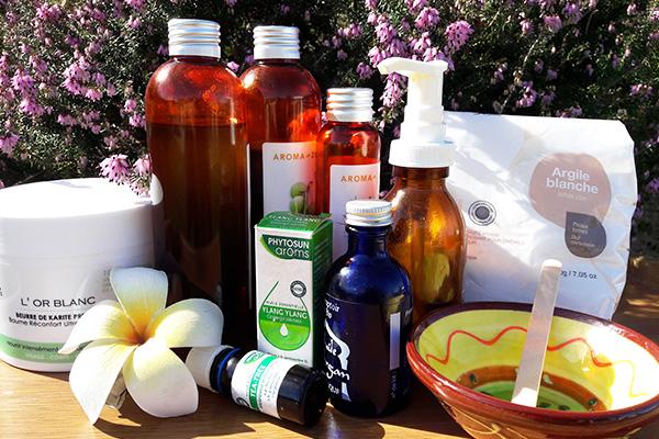 Produits soin visage bio : argiles, miels, huiles végétales, huiles essentielles, beurre de karité, aloe vera, algues